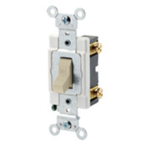 Leviton 12021-2I Single-Pole Toggle Switch, 3A, 24V AC/DC, Ivory, Industrial Grade