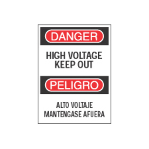 """Brady 38606 Bilingual DANGER High Voltage Keep Out Sign, 10"""" x 14"""""""