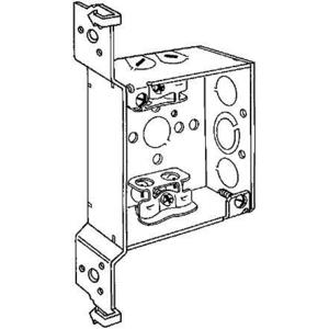 """Hubbell-Raco 219 4"""" Square Box, 1-1/2"""" Deep, FH Bracket, MC Cable"""