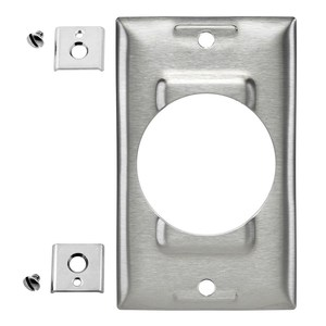 Hubbell-Bryant SS750 Single Receptacle Wallplate, 1-Gang, 50 Amp Opening, Stainless Steel