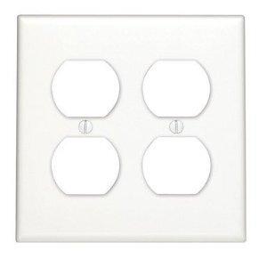 Leviton 80716-W Duplex Receptacle Wallplate, 2-Gang, Nylon, White