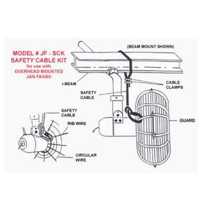 Jan Fan JF-SCK Safety Cable Kit , 12' Cable With Clamps