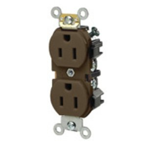 Leviton 5242 15 Amp Duplex Receptacle, 125V, 5-15R, Brown, Side Wired, Industrial