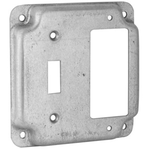 """Hubbell-Raco 814C 4"""" Square Exposed Work Cover, (1) Toggle, (1) Decora/GFCI"""