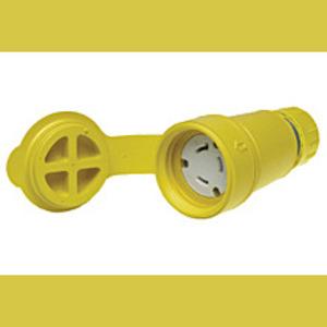 Woodhead 25W07 Locking Connector, Rubber, Non-NEMA, 15/10A, 125/250V, Non-Grounding