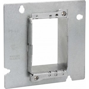 "Orbit Industries 4SAR1G 4"" Square Cover, 1-Device, Mud Ring, 1-1/4"" Raised, Drawn, Metallic"