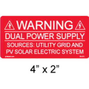PV Labels 03-211 WARNING-DUAL POWER SUPPLY-SOURCES