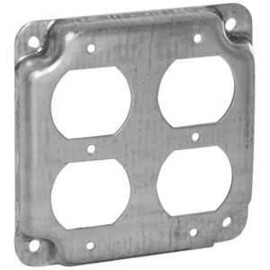 "Appleton 8371N 4"" Square Exposed Work Cover, (2) Duplex Receptacles, 1/2"" Raised"