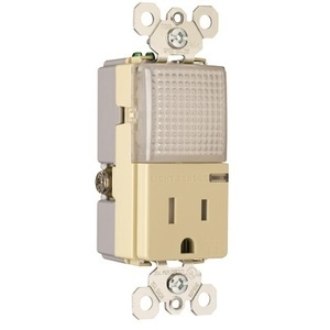 Pass & Seymour TM8-HWLTRICC Decora Hallway Light/Single Receptacle, 15A, 125V, Ivory *** Discontinued ***