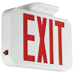 Hubbell-Compass CER Exit Sign, LED, White, Red Letters, 120/277V