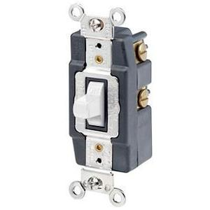 Leviton 1281-W Maintained Switch, 1-Pole, Double Throw, Center OFF, 15A, White