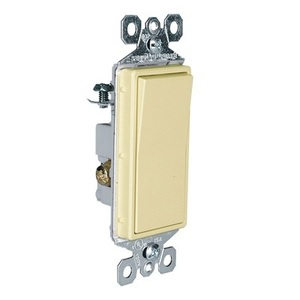 Pass & Seymour TM873-ISL Illuminated 3-Way Decorator Switch, 15A, Ivory, Lighted when OFF