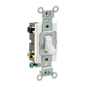 Leviton CS415-2W 4-Way Switch, 15 Amp, 120/277V, White, Side Wired, Commercial Grade