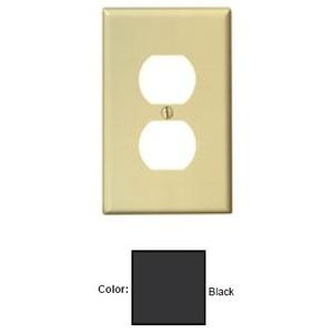 Leviton PJ8-E Duplex Receptacle Wallplate, 1-Gang, Nylon, Black, Midway