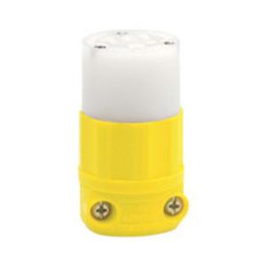 Leviton 53CM-69C 20 Amp Corrosion Resistant Connector, 125V, 5-20R, Nylon, Yellow