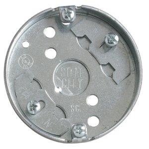 """Steel City 36115-C30 4"""" Ceiling Pan, 1/2"""" Deep, 1/2"""" KOs, Metallic"""