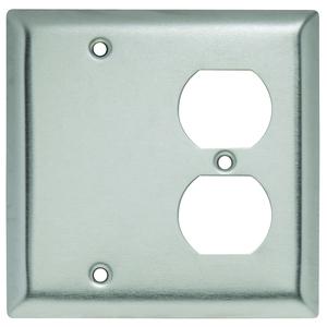 Hubbell-Wiring Kellems SS138 WALLPLATE 2-G BLANK/DUP SS