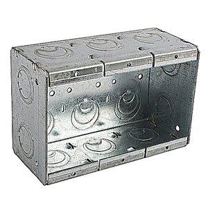 """Steel City 3-MBS Masonry Box, 3-Gang, 2-1/2"""" Deep, 1/2"""" & 3/4"""" KOs, Steel"""
