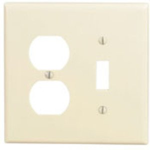 Leviton 80505-I Combo Wallplate, 2-Gang, Toggle/Duplex, Thermoset, Ivory, Midway