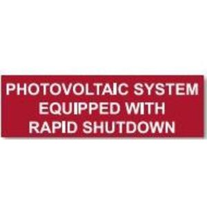 HellermannTyton 596-00474 Solar Marker, , PHOTOVOLTAIC STYEM EQUIPPED WITH RAPID SHUTDOWN, Red