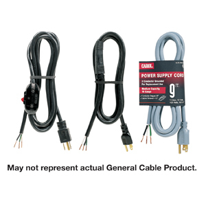"""General Cable 01513.70.01 Power Supply Cord, SJT, 16/3, 8'2"""" Long, Black, 15A"""