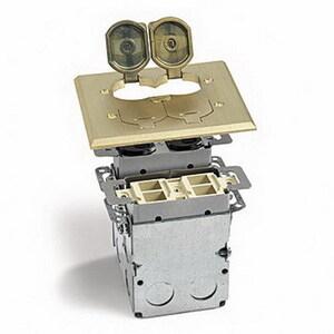 Lew SWB-42P-LR-A Flip Lid Quad Box W/(2) Duplex Outlets