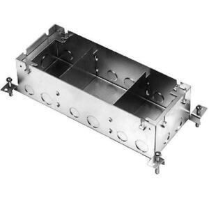 """Wiremold 880S3 Rectangular Floor Box, 3-Gang, Depth: 3-15/32"""", Steel"""