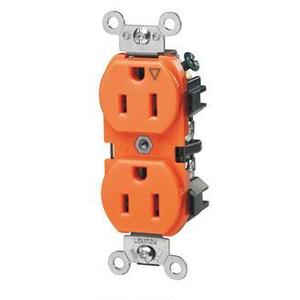 Leviton 5262-IG Duplex Receptacle, 15A, 125V, Slim, 5-15R, Orange