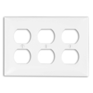 Leviton 80730-W Duplex Receptacle Wallplate, 3-Gang, Nylon, White