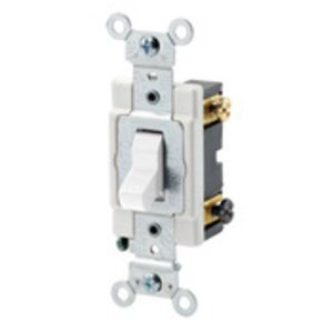 Leviton CSB2-20W 2-Pole Switch, 20 Amp, 120/277V, White, Back/Side Wired, Commercial