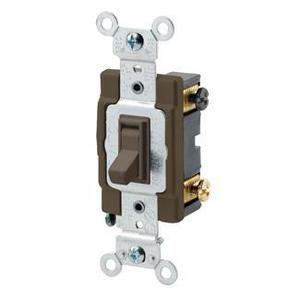 Leviton 54504-2 4-Way Switch, Framed Toggle, 15A, 120/277V, Brown, Side Wired