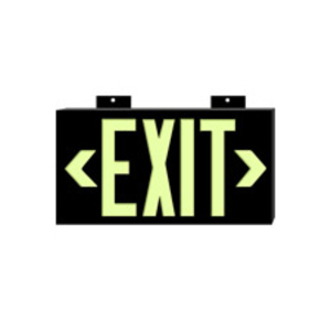Brady 38097B Exit Sign, Glow, Non-Electric, Black