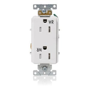 Leviton WTD15-W Decora Plus WP Duplex Receptacle, 15A, White