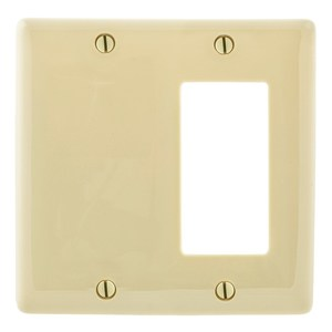 Hubbell-Bryant NP1326I Combo Wallplate, 2-Gang, Blank/Décor-GFCI, Nylon, Ivory