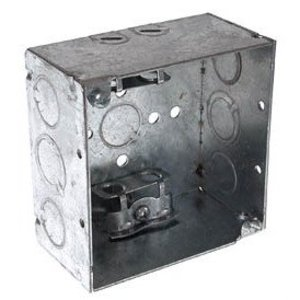 """Hubbell-Raco 248 4"""" Square Box, Welded, Metallic, 2-1/8"""" Deep, AC/MC Clamps"""