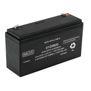 Hubbell-Dual-Lite 0120800 Sealed Lead Acid Battery, 6V, 9A/90