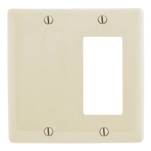 Hubbell-Wiring Kellems NP1326LA Combo Wallplate, 2-Gang, Blank/Décor-GFCI, Nylon, Light Almond