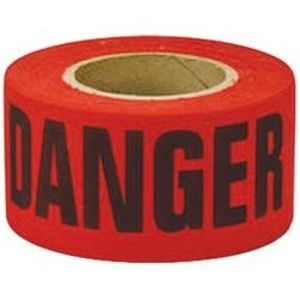 "3M 357 ""DANGER"" Barricade Tape, 3"" x 1000', Red"