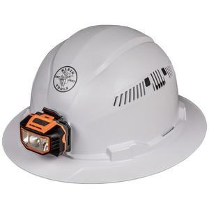 Klein 60407 Hard Hat, Vented, Full Brim with Headlamp