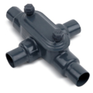 "Ocal X27-G PVC Coated Conduit Body, Type X, Size: 3/4"", Form 7, Iron/PVC Coated"