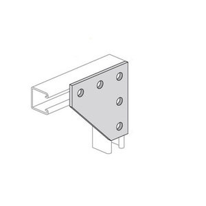 "Power-Strut PS2190-EG Flat Corner Angle Plate, 5-Hole, Bolt Hole: 9/16"", Steel/Galvanized"
