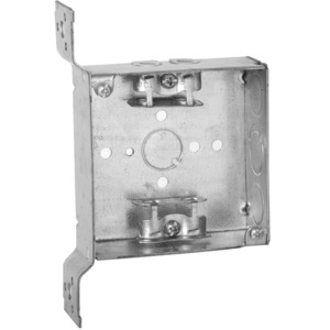 "Hubbell-Raco 218 4"" Square Box, Welded, Metallic, 1-1/2"" Deep, FS Bracket"