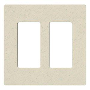 Lutron SC-2-LS Dimmer/Fan Control Wallplate, 2-Gang, Satin Series, Limestone Finish