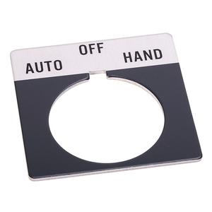 "Allen-Bradley 800T-X511 Legend Plate, Standard, 30mm, Gray w/Black Text ""HAND-OFF-AUTO"""