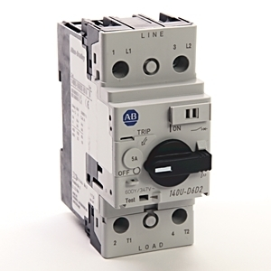Allen-Bradley 140U-D6D2-B50 Breaker, Motor Protection, Rotary, 5A, 2P, 600VAC, 100kAIC