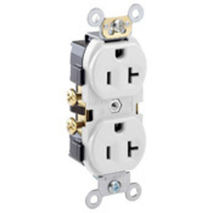 Leviton CR20-W 20A Duplex Receptacle, 125V, 5-20R, White, Side Wired, Spec Grade