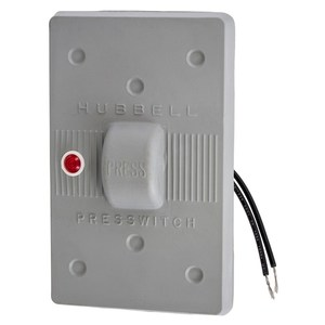Hubbell-Kellems HBL1785 Gray neoprene PresSwitch plate with 125V red pilot light. Fits only FS/FD boxes.