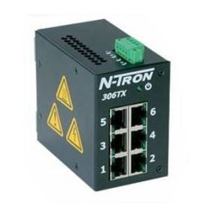 N-TRON 306-TX Ethernet Switch, 6 Port, Unmanaged, 10-30VDC, 10/100BaseTX
