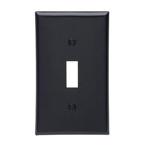 Leviton 80701-E Toggle Switch Wallplate, 1-Gang, Nylon, Black