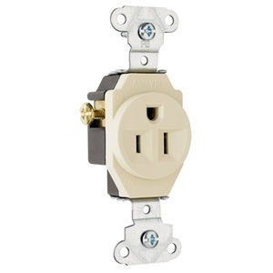 Pass & Seymour 5251-LA Single Receptacle, 15 Amp, 125 Volt, Light Almond